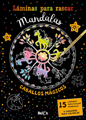 LAMINAS PARA RASCAR MANDALAS - CABALLOS MAGICOS